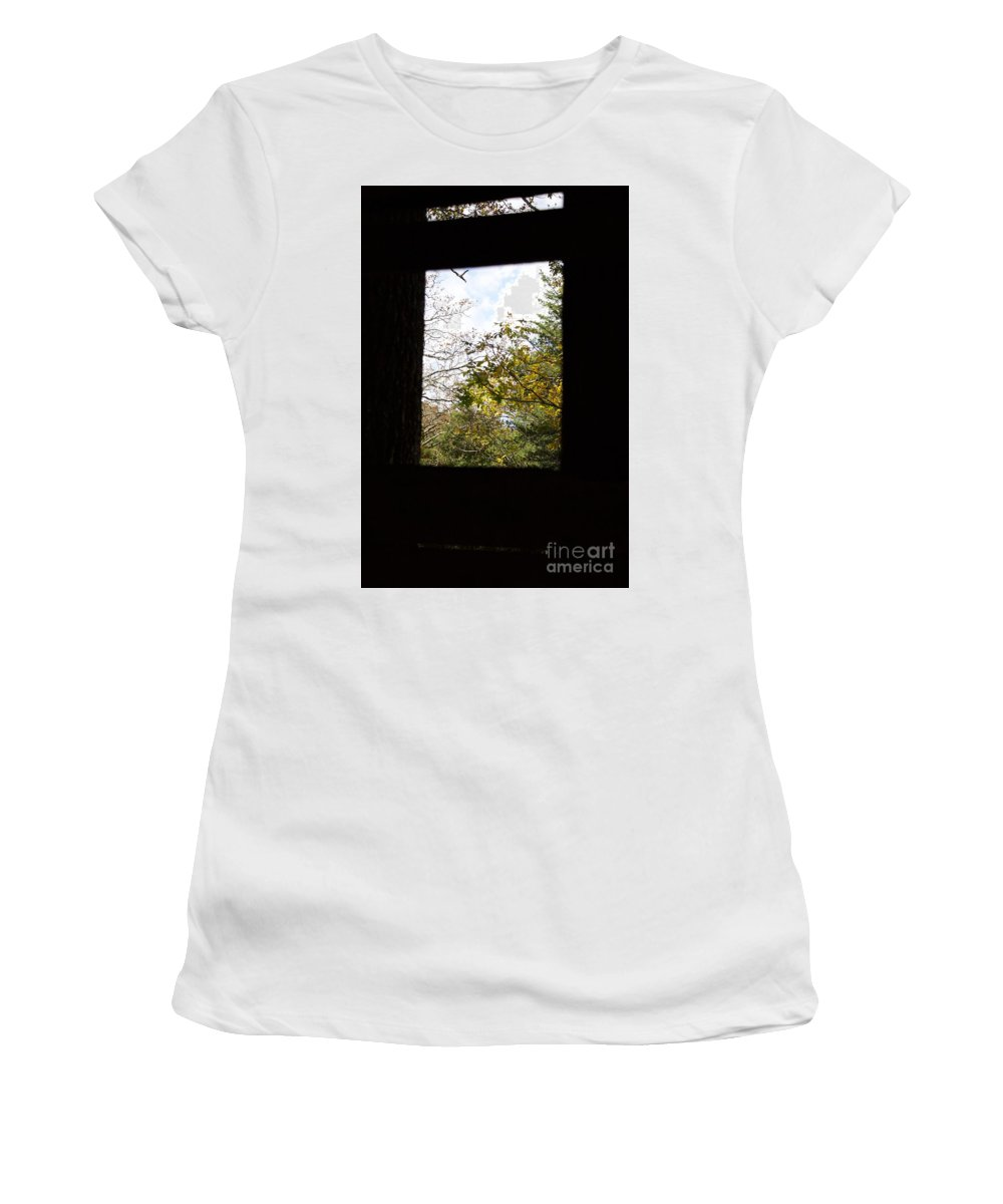 Window Women's T-Shirt (Athletic Fit) featuring the photograph Rush Windows 1 by John Franke