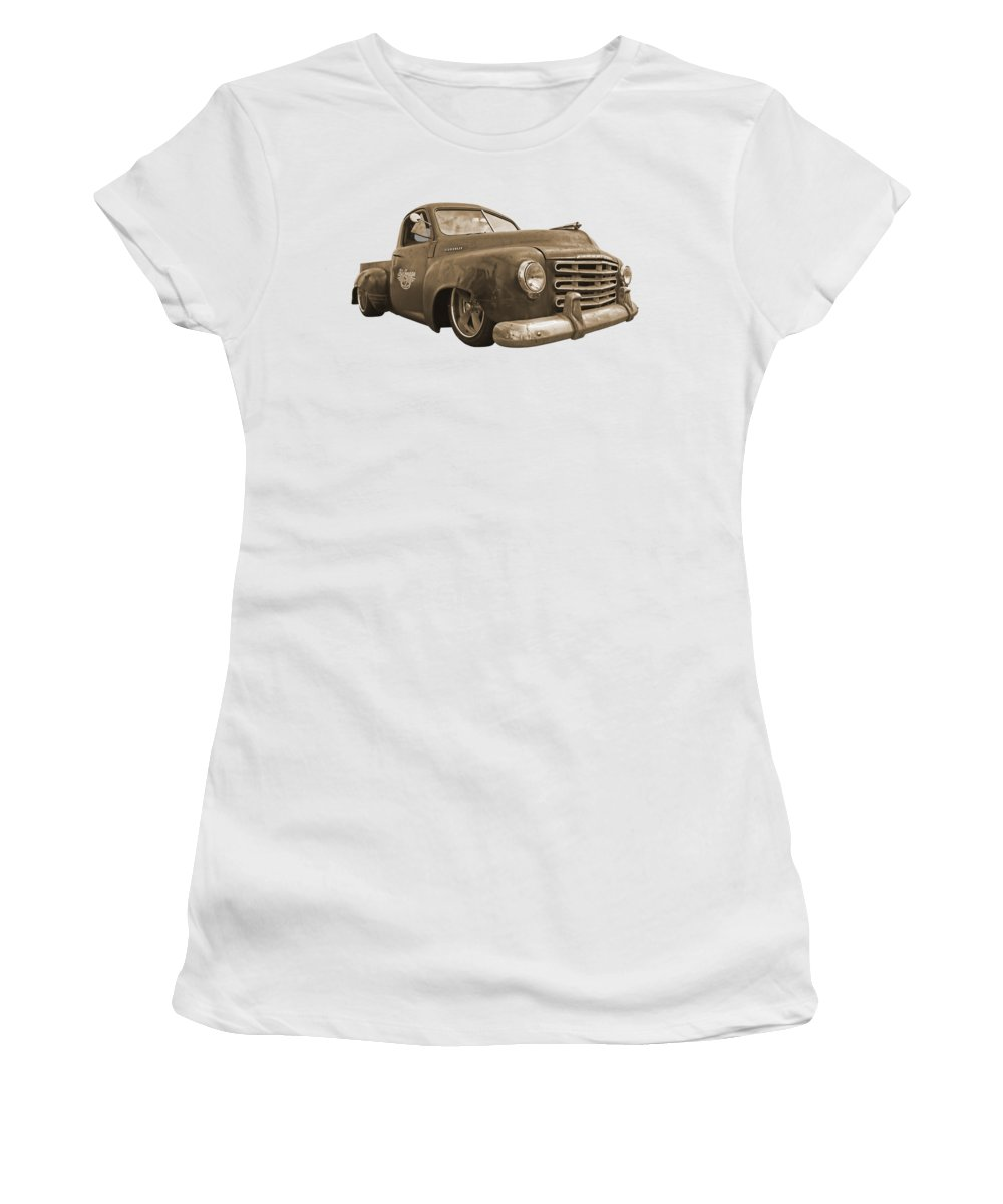 Rusty Women's T-Shirt featuring the photograph Rusty Studebaker In Sepia by Gill Billington