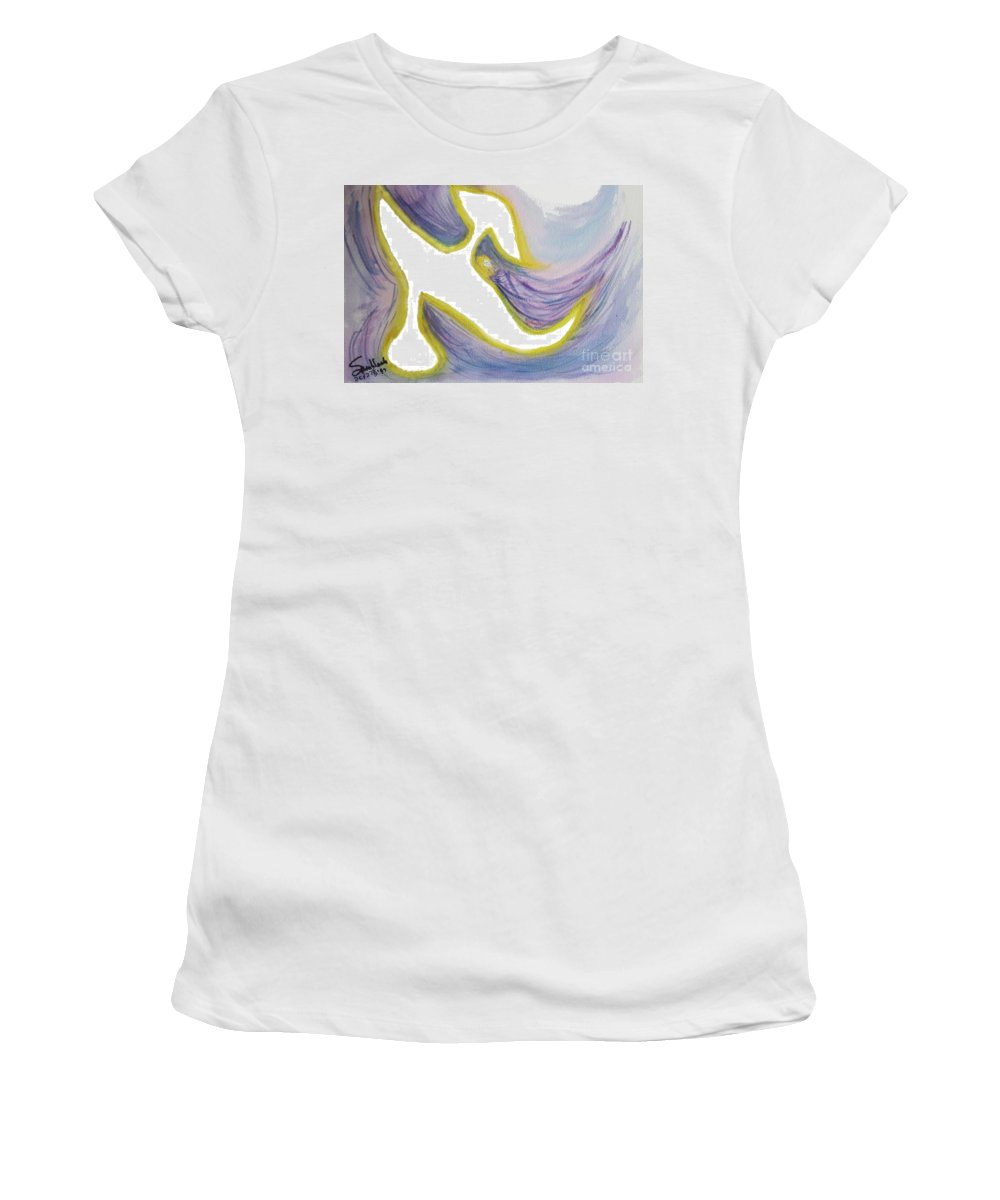 Women's T-Shirt featuring the painting Safe by Hebrewletters Sl