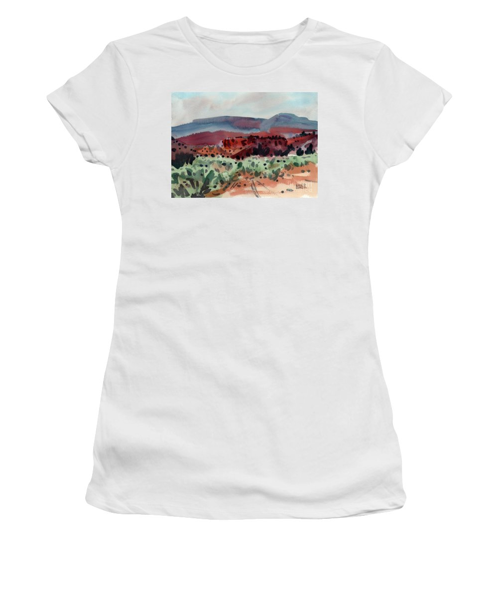 Southwestern Landscape Women's T-Shirt (Athletic Fit) featuring the painting Sage Sand And Sierra by Donald Maier