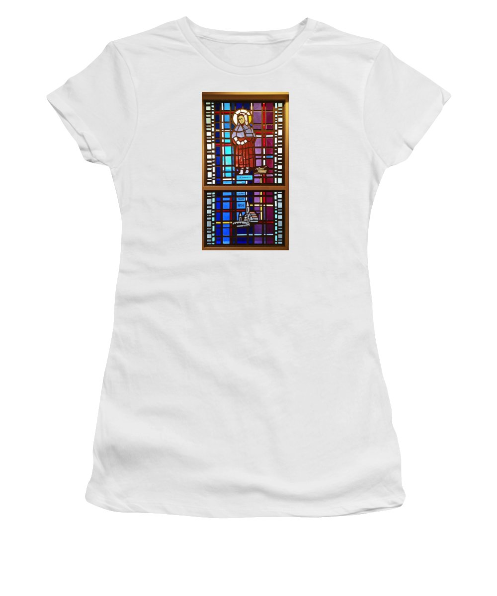Stained Glass Window Women's T-Shirt (Athletic Fit) featuring the photograph Saint Bernadette Lourdes by Sally Weigand
