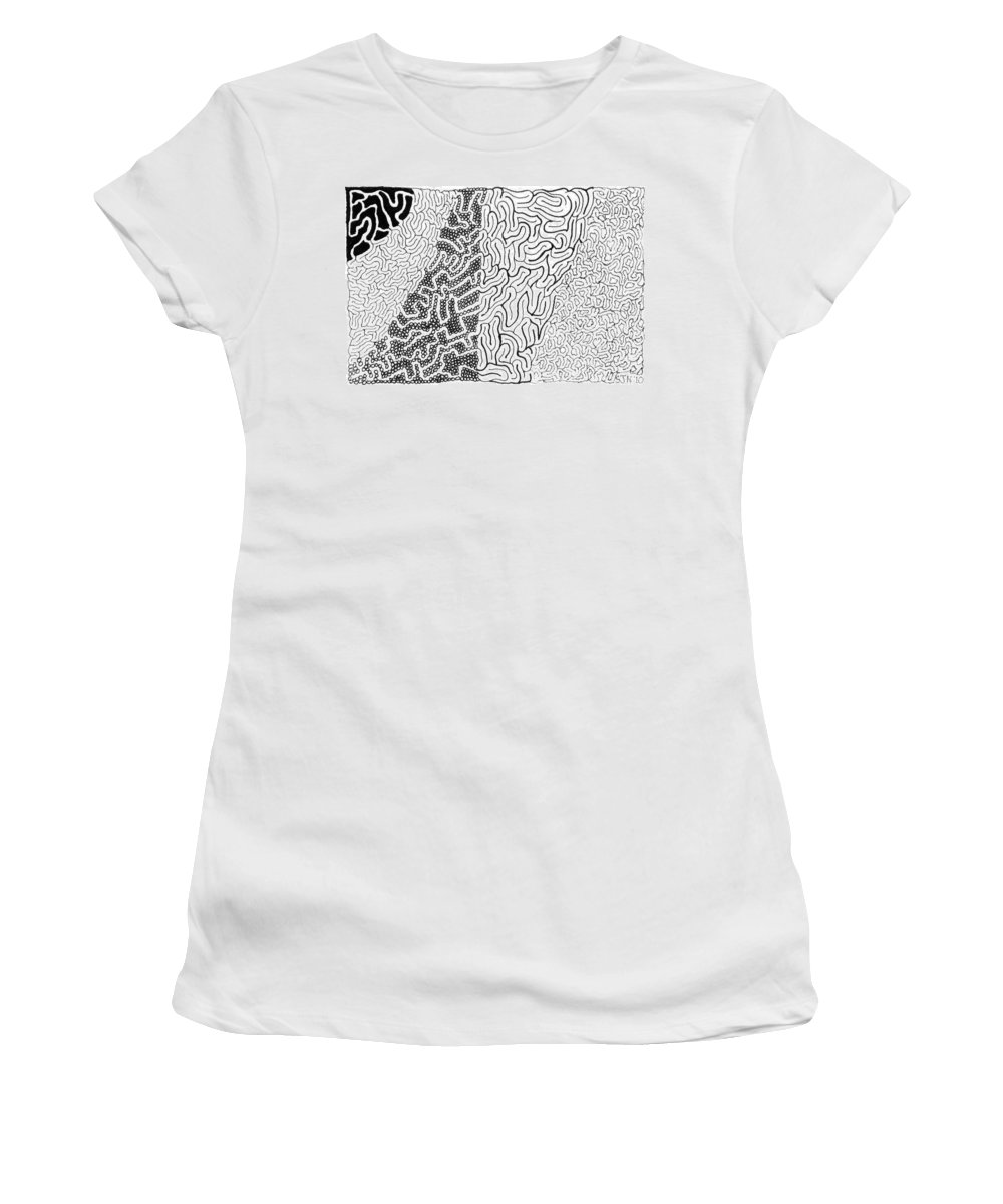Mazes Women's T-Shirt (Athletic Fit) featuring the drawing Salmagundi by Steven Natanson
