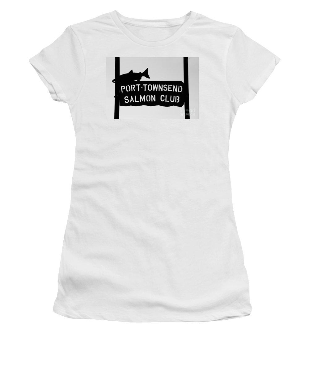 Port Townsend Salmon Club Women's T-Shirt (Athletic Fit) featuring the photograph Salmon Club by David Lee Thompson