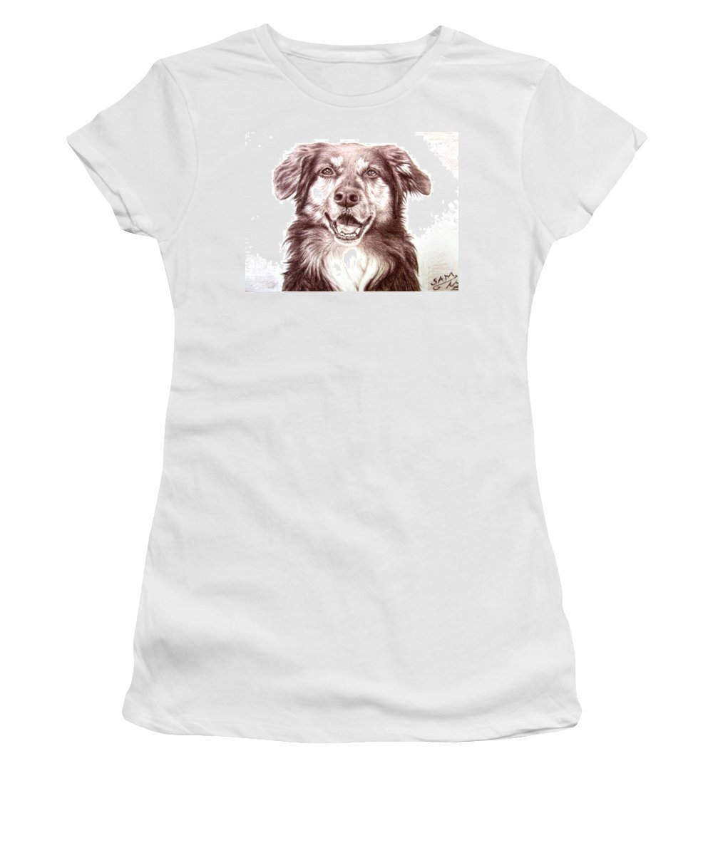 Dog Women's T-Shirt (Athletic Fit) featuring the drawing Sam by Nicole Zeug