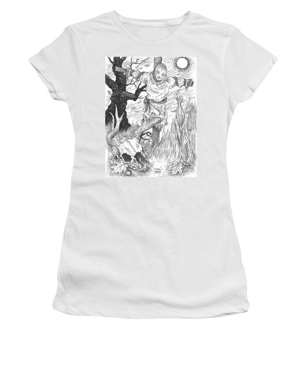 Pen Women's T-Shirt (Athletic Fit) featuring the drawing Samhain by Dan Moran