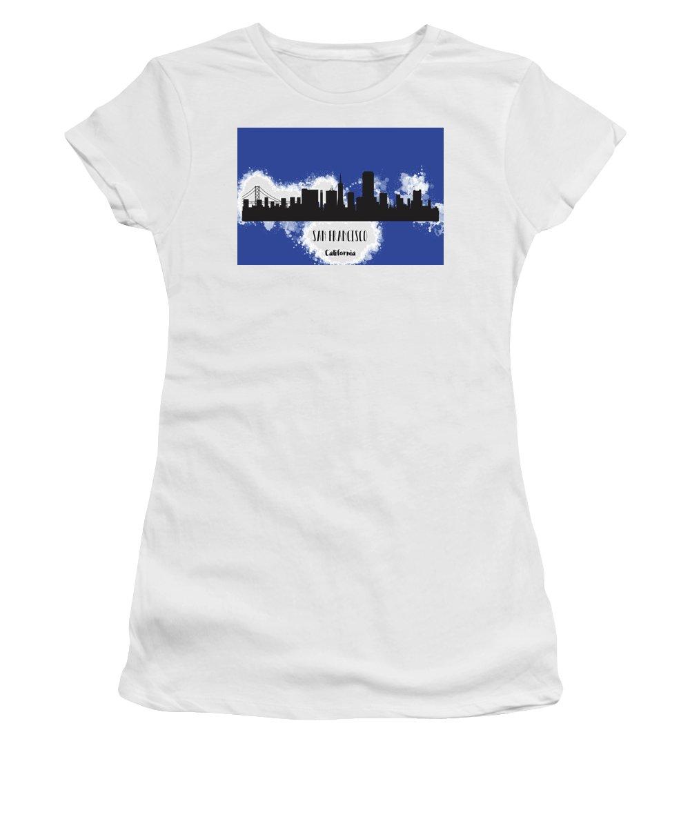 Anna Maloverjan Women's T-Shirt featuring the mixed media San Francisco Skyline Silhouette by Anna Maloverjan