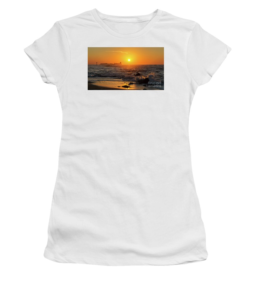 Sancti Petri Women's T-Shirt (Athletic Fit) featuring the photograph Sancti Petri Castle At Sunset San Fernando Cadiz Spain by Pablo Avanzini