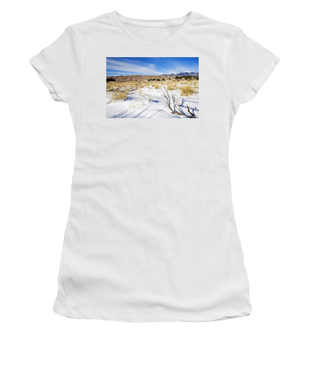 Snow Women's T-Shirt (Athletic Fit) featuring the photograph Sand And Snow by Mike Dawson