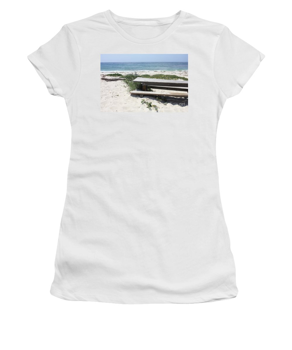 Picnic Table Women's T-Shirt (Athletic Fit) featuring the photograph Sandy Picnic Table by Carol Groenen