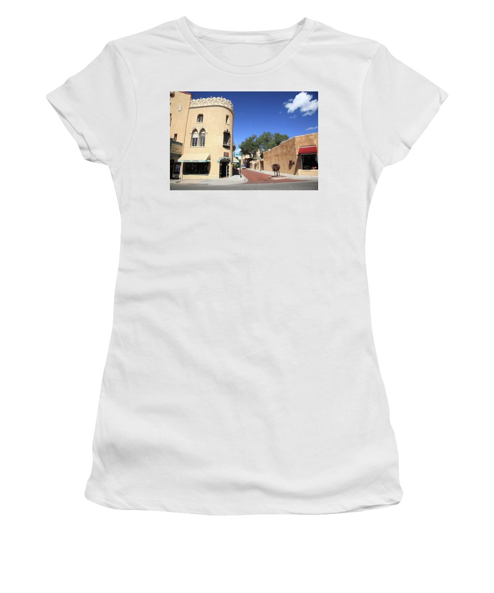 Adobe Women's T-Shirt (Athletic Fit) featuring the photograph Santa Fe New Mexico by Frank Romeo
