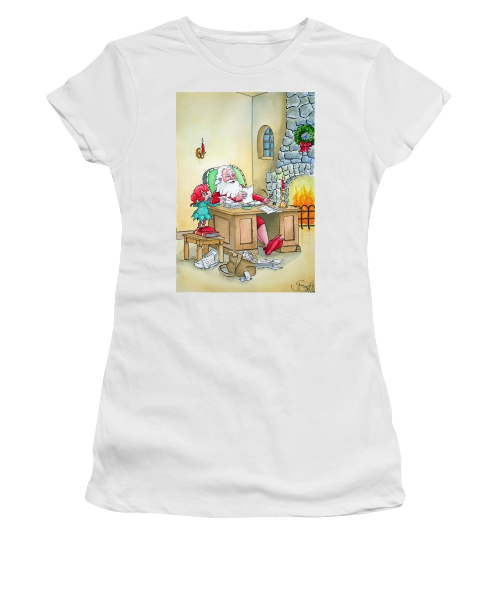 Christmas Women's T-Shirt (Athletic Fit) featuring the painting Santa by Jimmy Smith