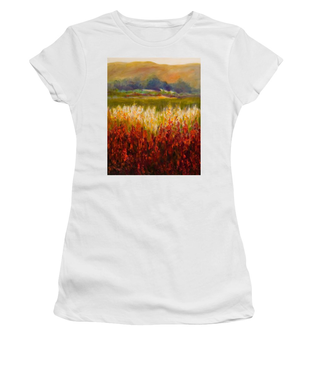 Landscape Women's T-Shirt (Athletic Fit) featuring the painting Santa Rosa Valley by Shannon Grissom