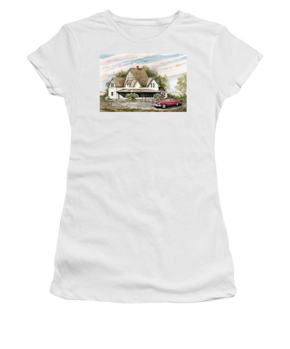 Hawk Studebaker Saturday Women's T-Shirt (Athletic Fit) featuring the painting Saturday Evening 1964 by Sam Sidders