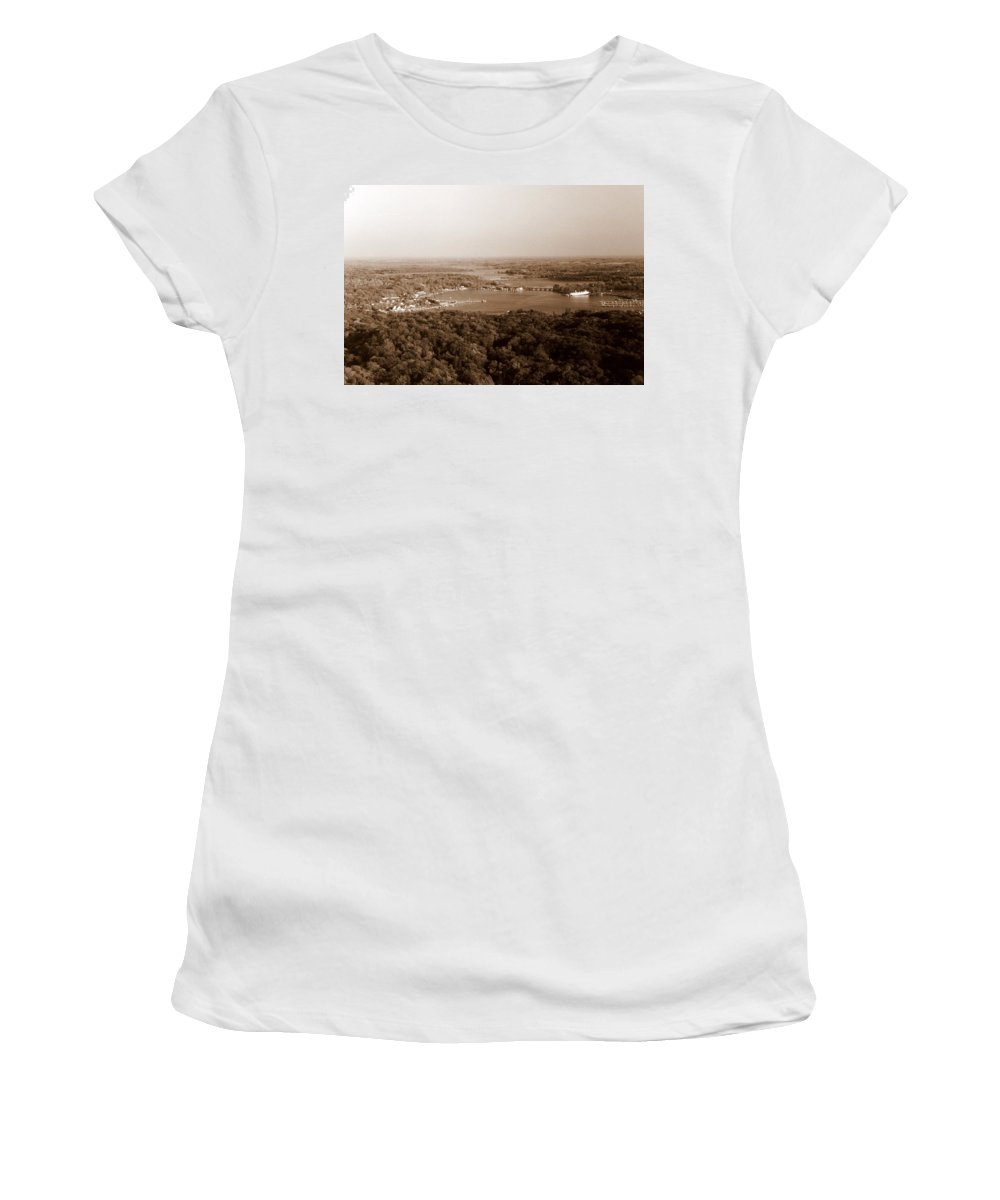 Saugatuck Women's T-Shirt (Athletic Fit) featuring the photograph Saugatuck Michigan Harbor Aerial Photograph by Michelle Calkins