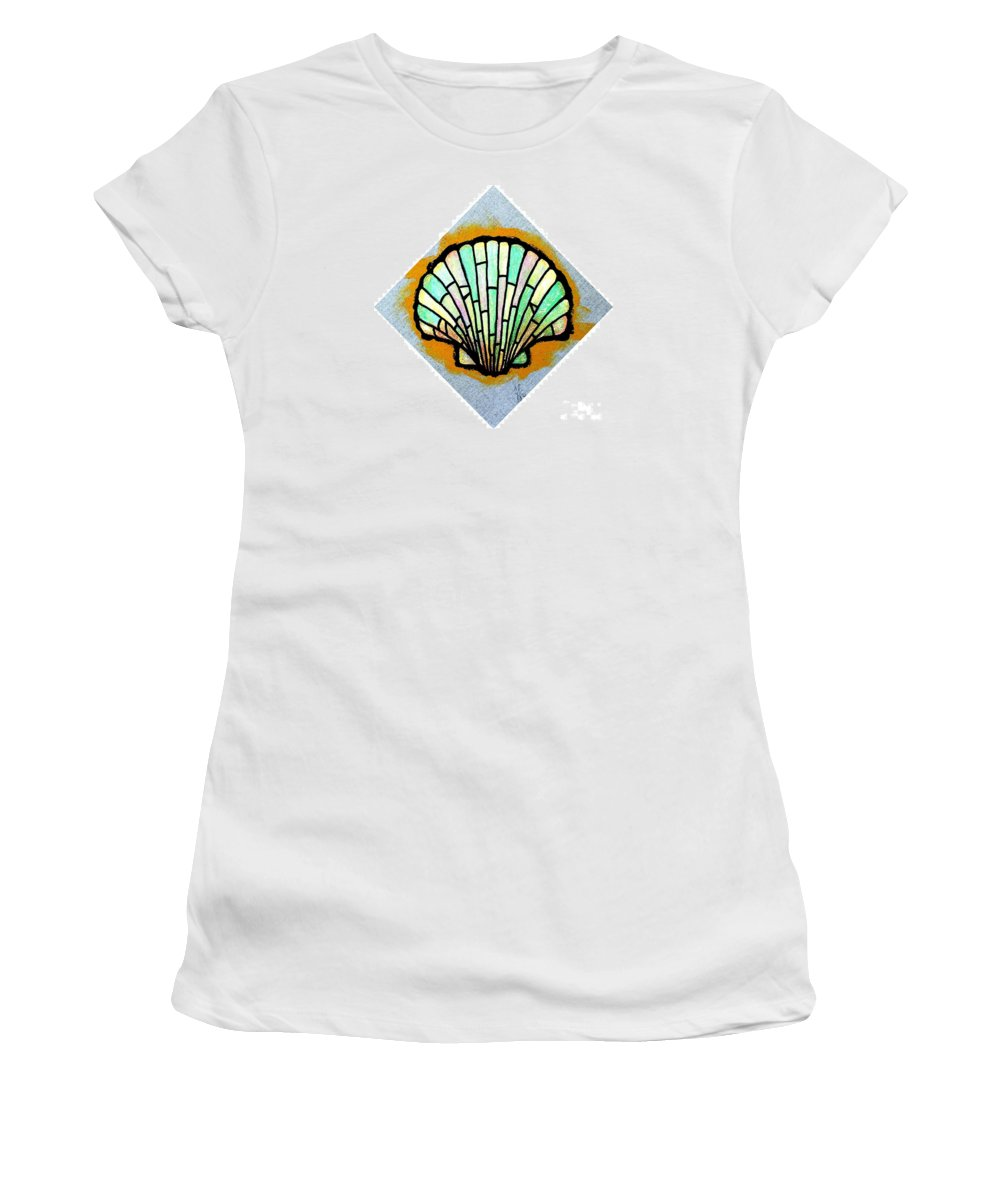 Shell Women's T-Shirt (Athletic Fit) featuring the painting Scallop Shell by Jim Harris