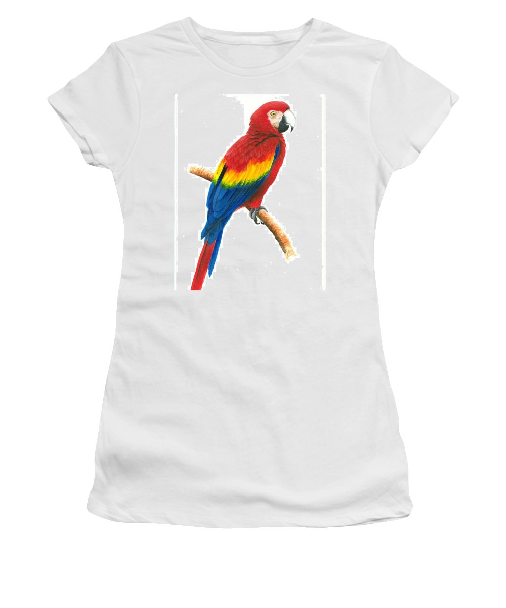 Chris Cox Women's T-Shirt (Athletic Fit) featuring the painting Scarlet Macaw by Christopher Cox