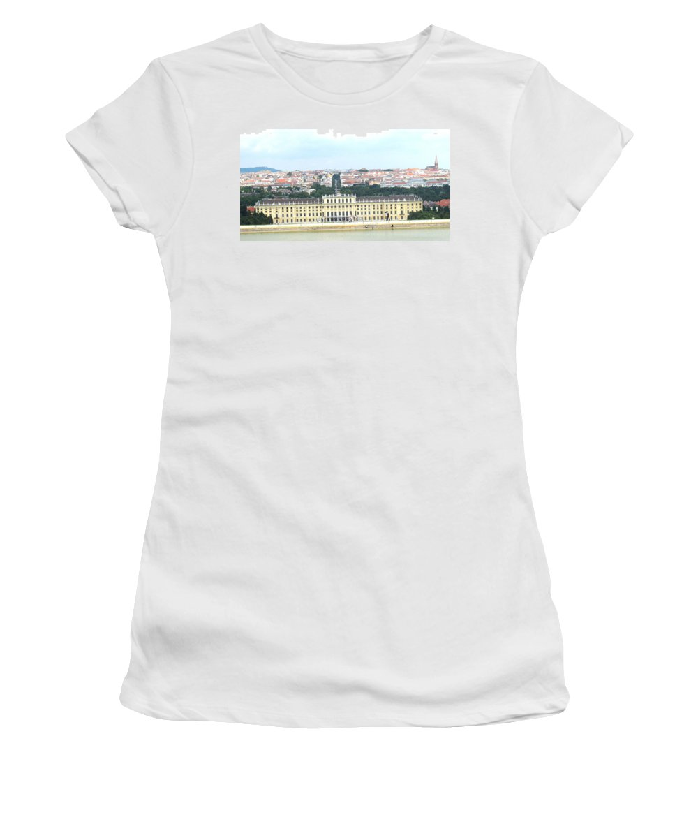 Schonbrunn Women's T-Shirt (Athletic Fit) featuring the photograph Schonbruun Castle by Ian MacDonald
