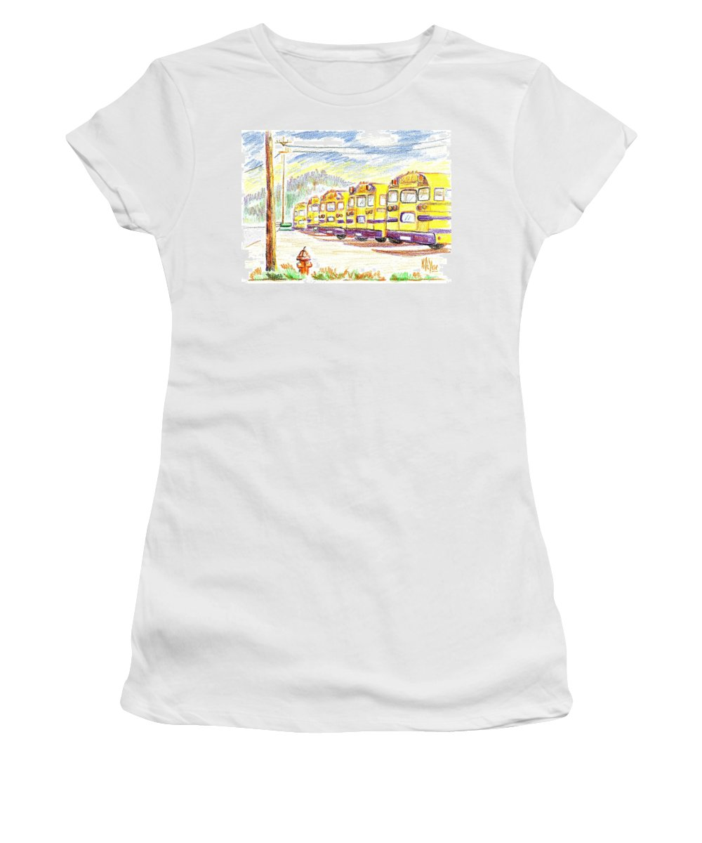 School Bussiness Women's T-Shirt featuring the mixed media School Bussiness by Kip DeVore