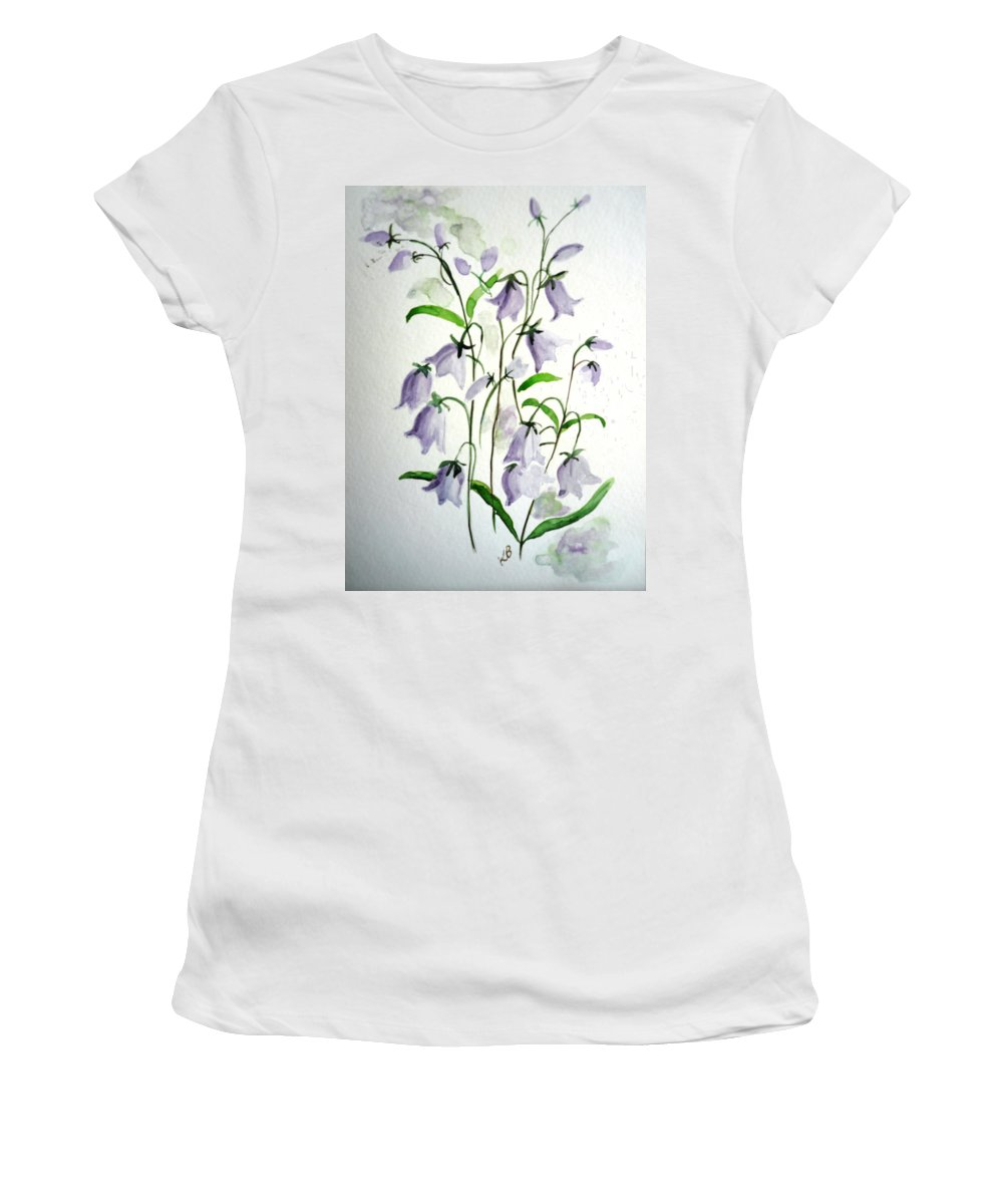Blue Bells Hare Bells Purple Flower Flora Women's T-Shirt (Athletic Fit) featuring the painting Scottish Blue Bells by Karin Dawn Kelshall- Best