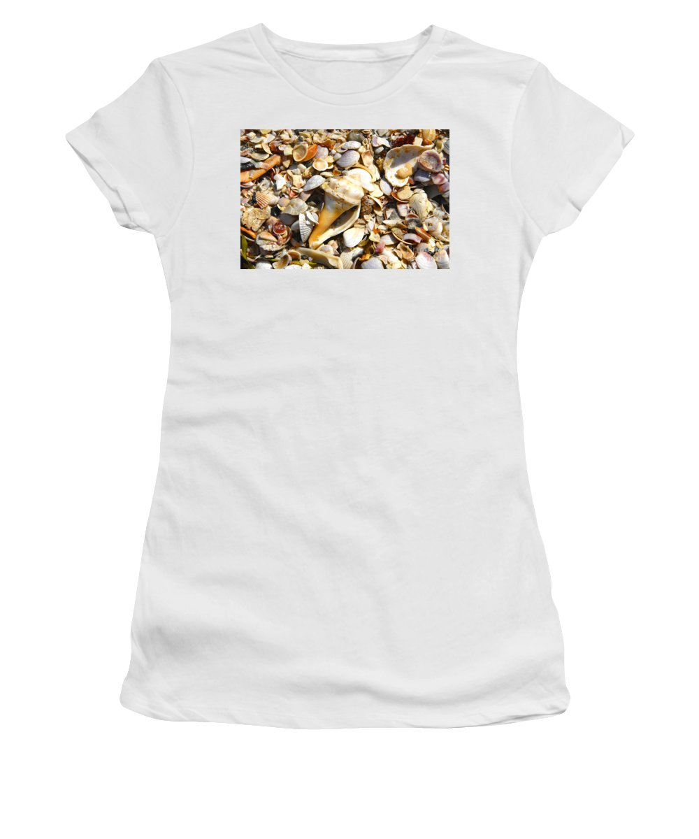 Florida Women's T-Shirt (Athletic Fit) featuring the photograph Sea Shells by David Lee Thompson