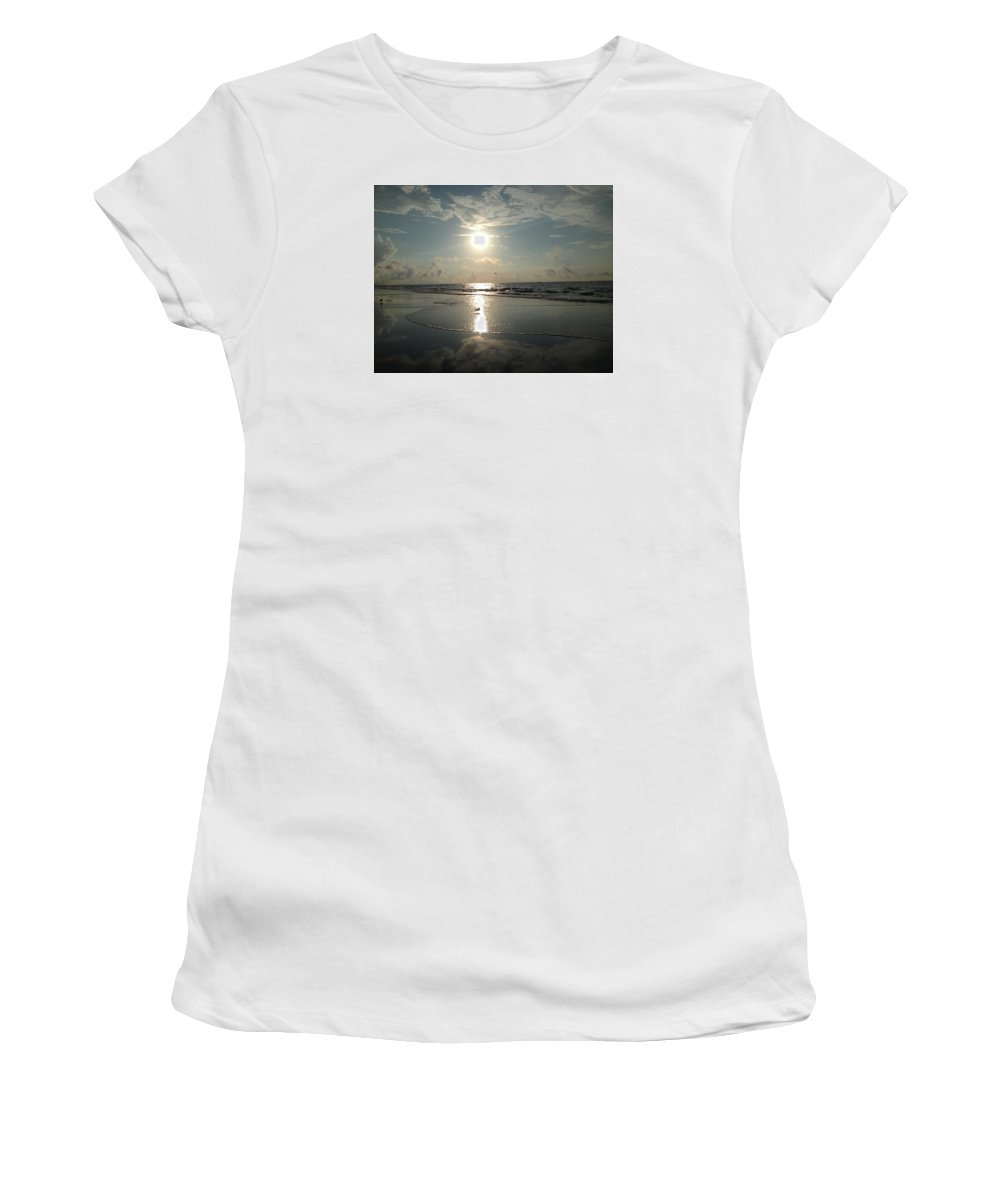 Seagull Women's T-Shirt (Athletic Fit) featuring the photograph Seagull In The Spotlight by Carol Anne Dillon