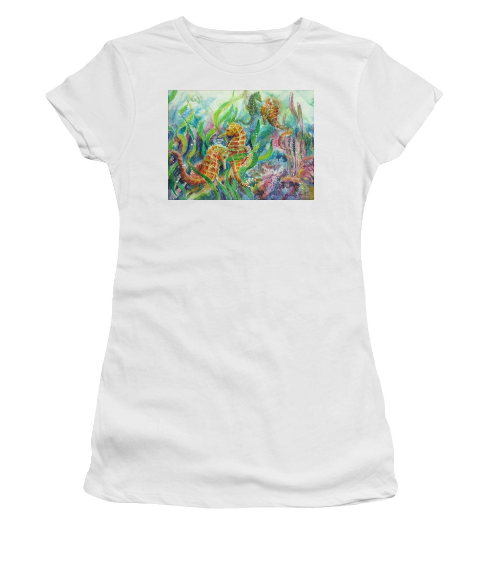 Seahorse Women's T-Shirt (Athletic Fit) featuring the painting Seahorses Three by Deborah Younglao