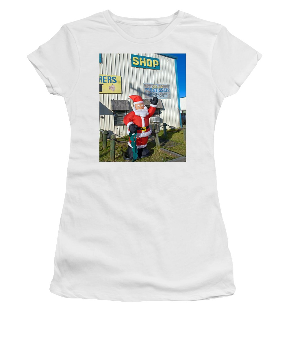Florida; Christmas; Gift; Santa; Claus; Suggestion; Suggest; Present; Recommend; Recommendation; Cap Women's T-Shirt (Athletic Fit) featuring the photograph Seashell Seats For Christmas by Allan Hughes