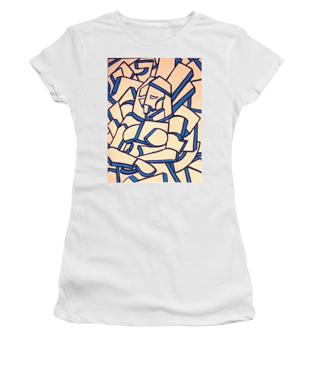 Girl Women's T-Shirt (Athletic Fit) featuring the painting Seated Women by Thomas Valentine