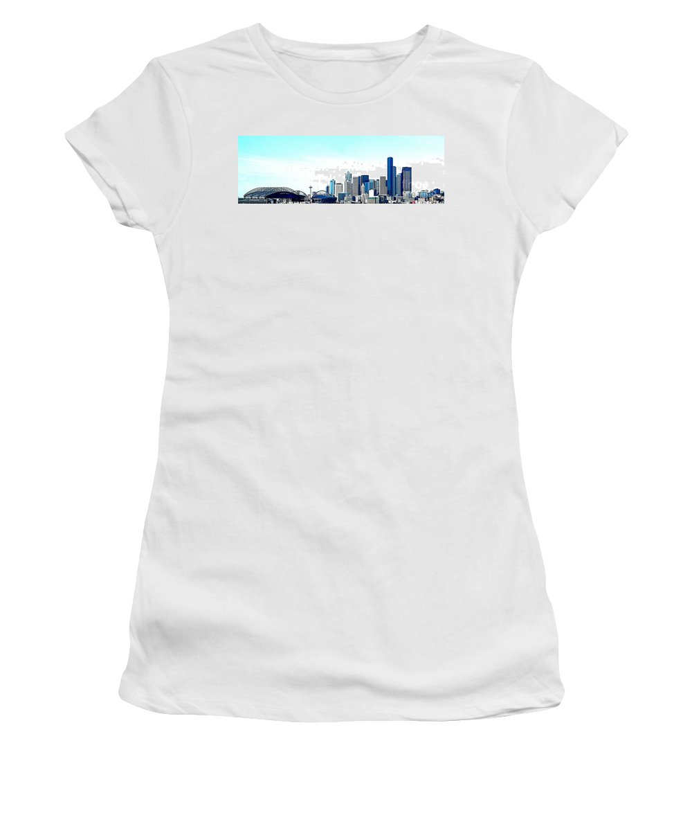 Seattle Women's T-Shirt featuring the photograph Seattle Blue by Nick Gustafson