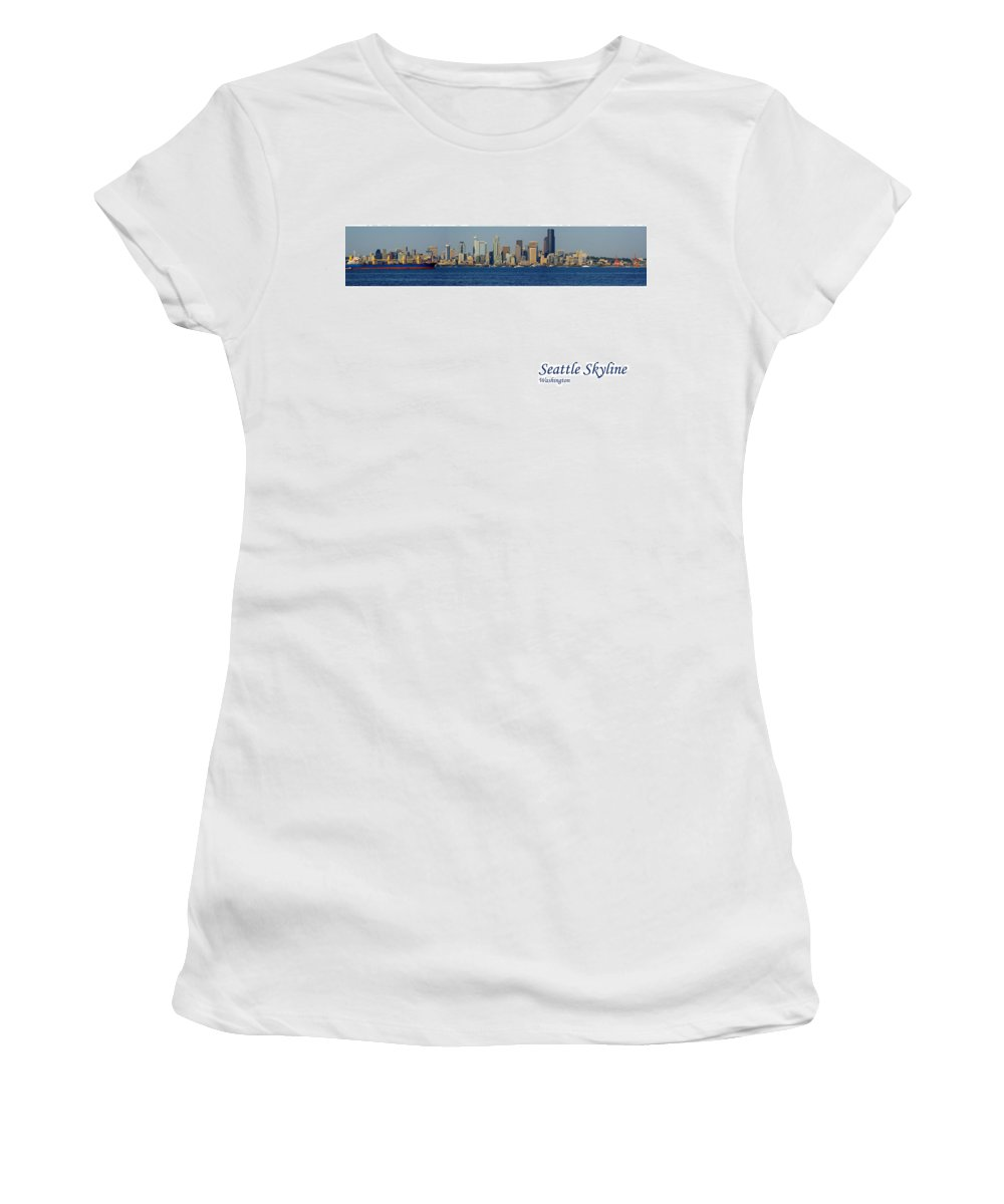 Seattle Women's T-Shirt (Athletic Fit) featuring the photograph Seattle Skyline From Alki by Karen Ulvestad