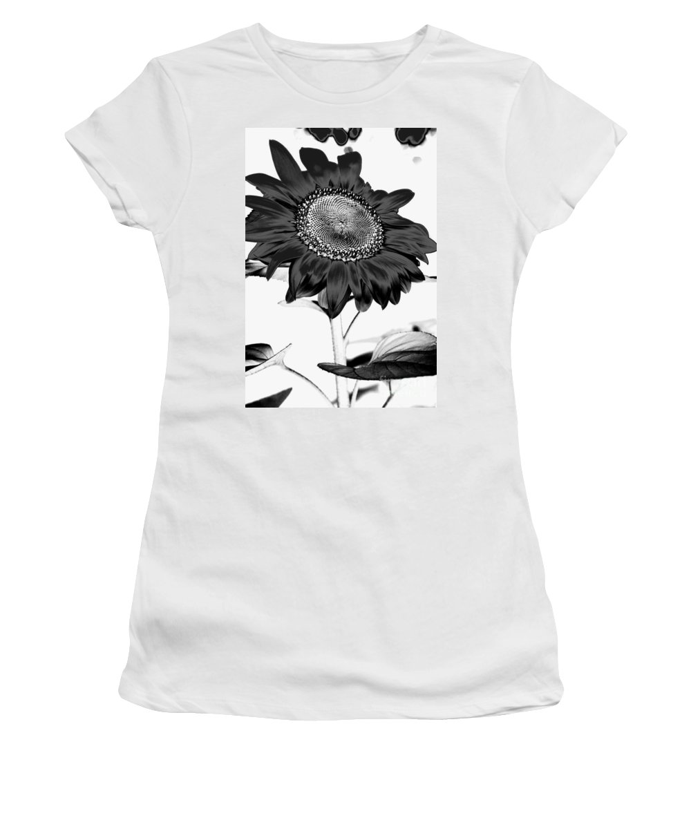 Black And White Photography Women's T-Shirt (Athletic Fit) featuring the photograph Seattle Sunflower Bw Invert - Stronger by Heather Kirk