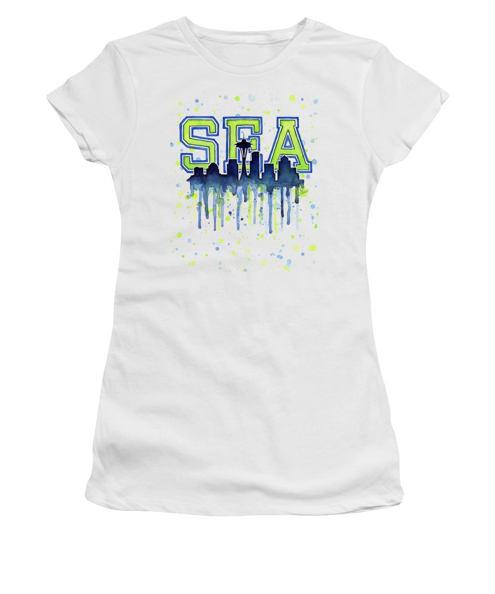 Watercolor Women's T-Shirt featuring the painting Seattle Watercolor 12th Man Art Painting Space Needle Go Seahawks by Olga Shvartsur