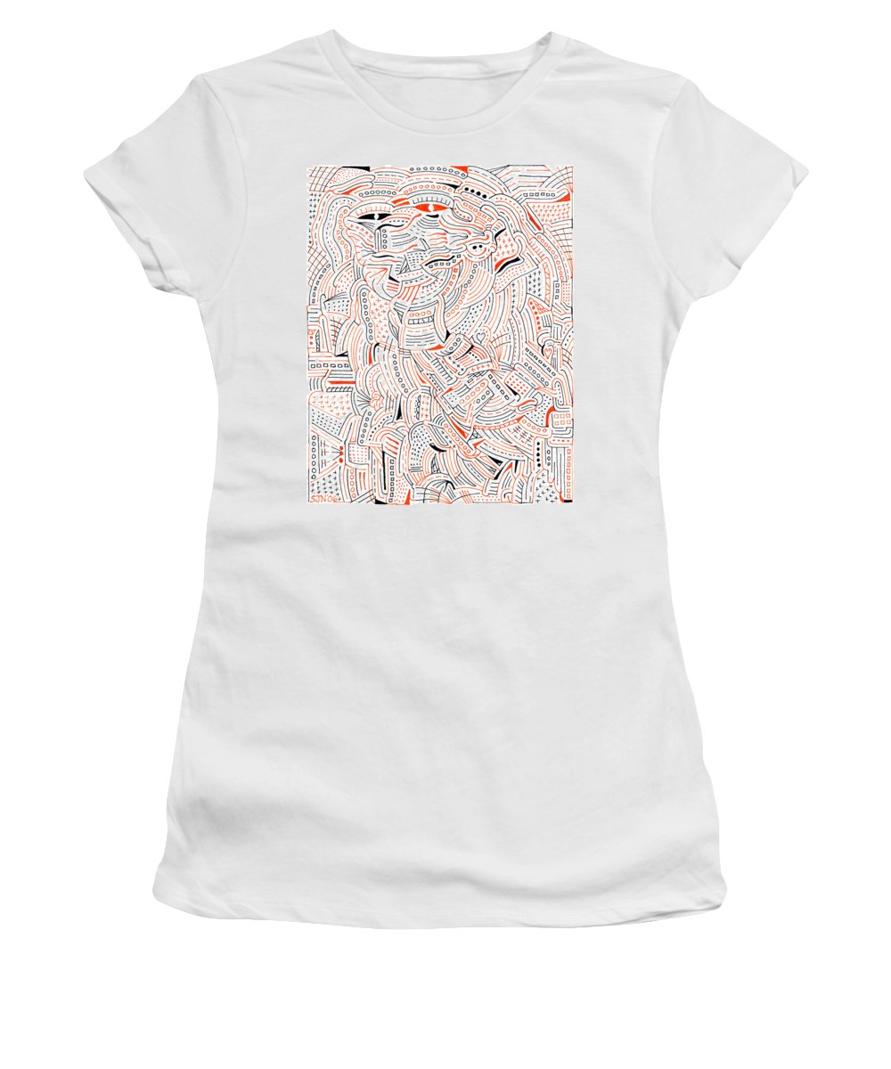 Mazes Women's T-Shirt (Athletic Fit) featuring the drawing Self Portrait by Steven Natanson