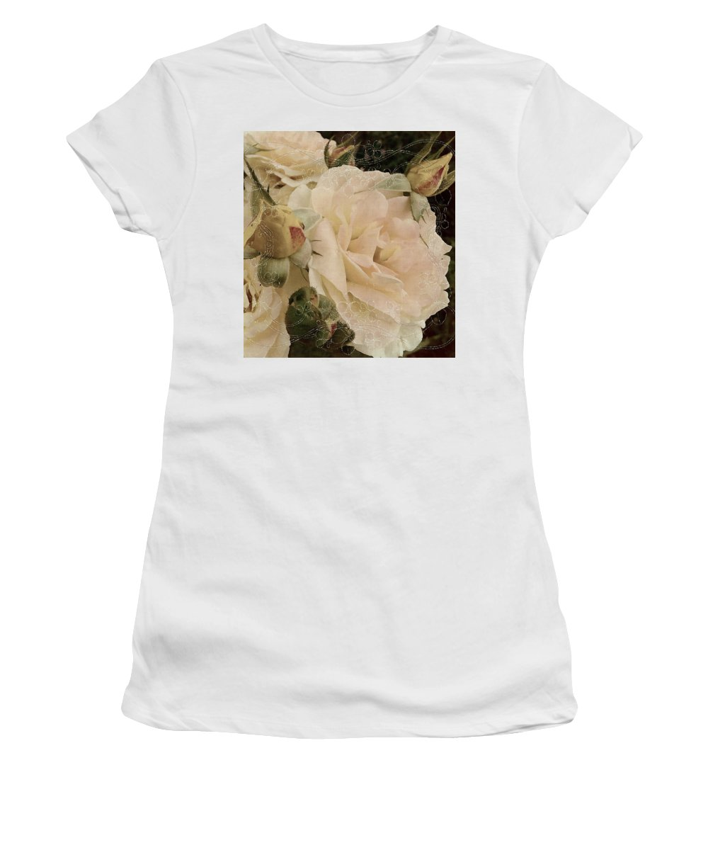 Roses Women's T-Shirt (Athletic Fit) featuring the mixed media Sensual Kiss Of Yesteryear by Georgiana Romanovna