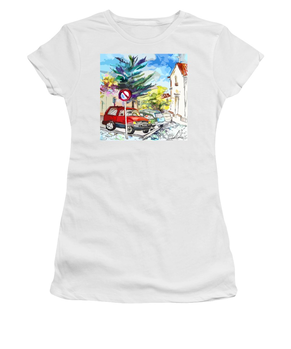 Painting Of Serpa Alentajo Portugal Travel Sketch Women's T-Shirt (Athletic Fit) featuring the painting Serpa Portugal 02 Bis by Miki De Goodaboom