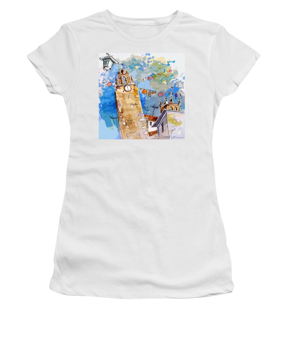 Painting Of Serpa Alentajo Portugal Travel Sketch Women's T-Shirt featuring the painting Serpa Portugal 08 Bis by Miki De Goodaboom