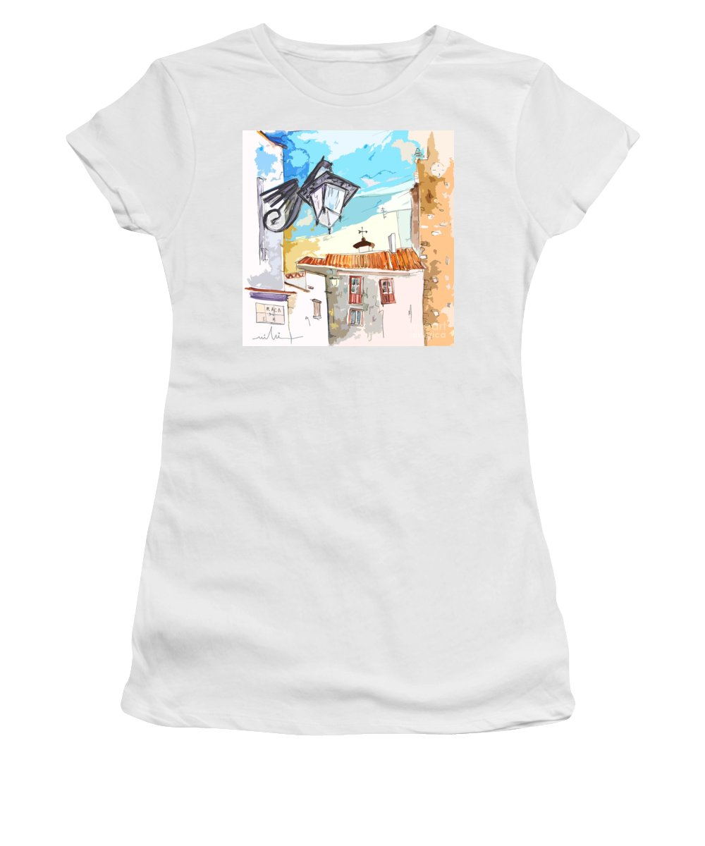 Painting Of Serpa Alentajo Portugal Travel Sketch Women's T-Shirt (Athletic Fit) featuring the painting Serpa Portugal 09 Bis by Miki De Goodaboom