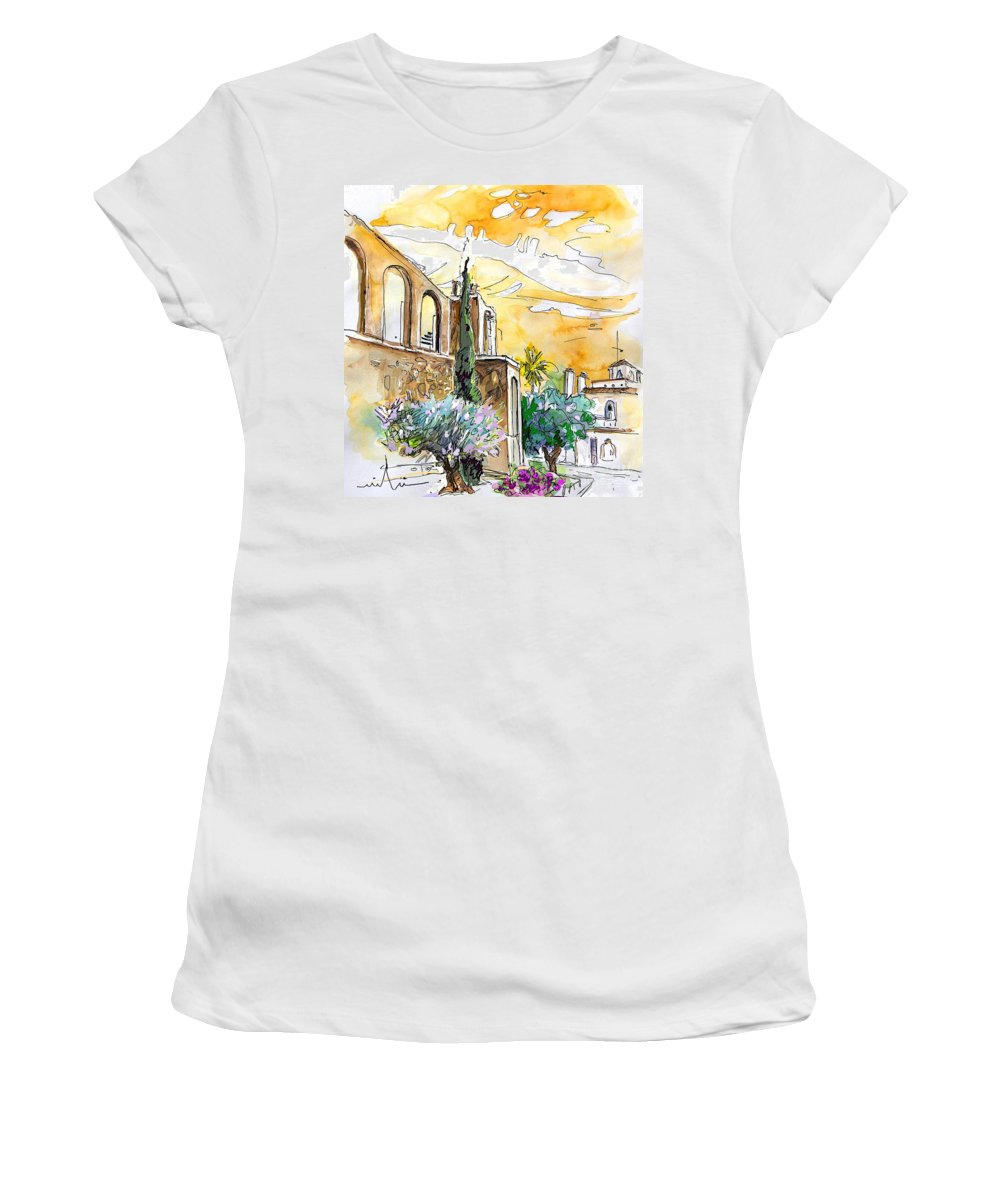 Portugal Paintings Women's T-Shirt featuring the painting Serpa Portugal 10 by Miki De Goodaboom