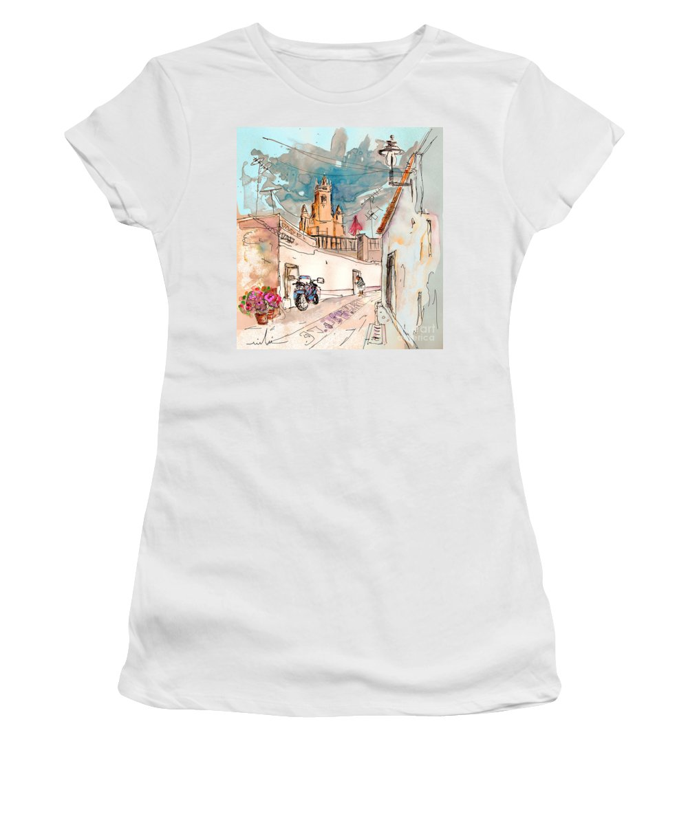 Portugal Paintings Women's T-Shirt featuring the painting Serpa Portugal 22 by Miki De Goodaboom