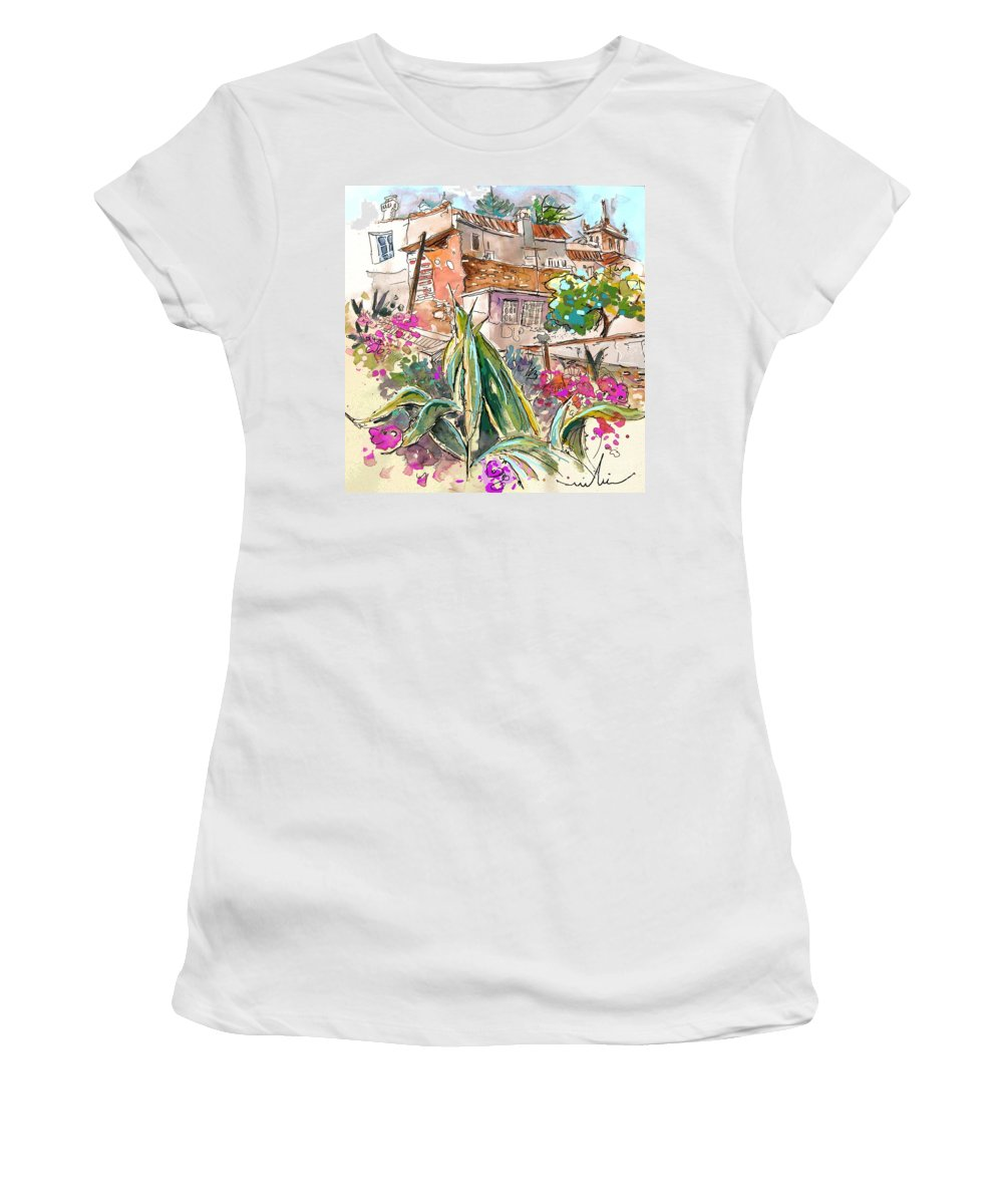 Portugal Paintings Women's T-Shirt featuring the painting Serpa Portugal 24 by Miki De Goodaboom