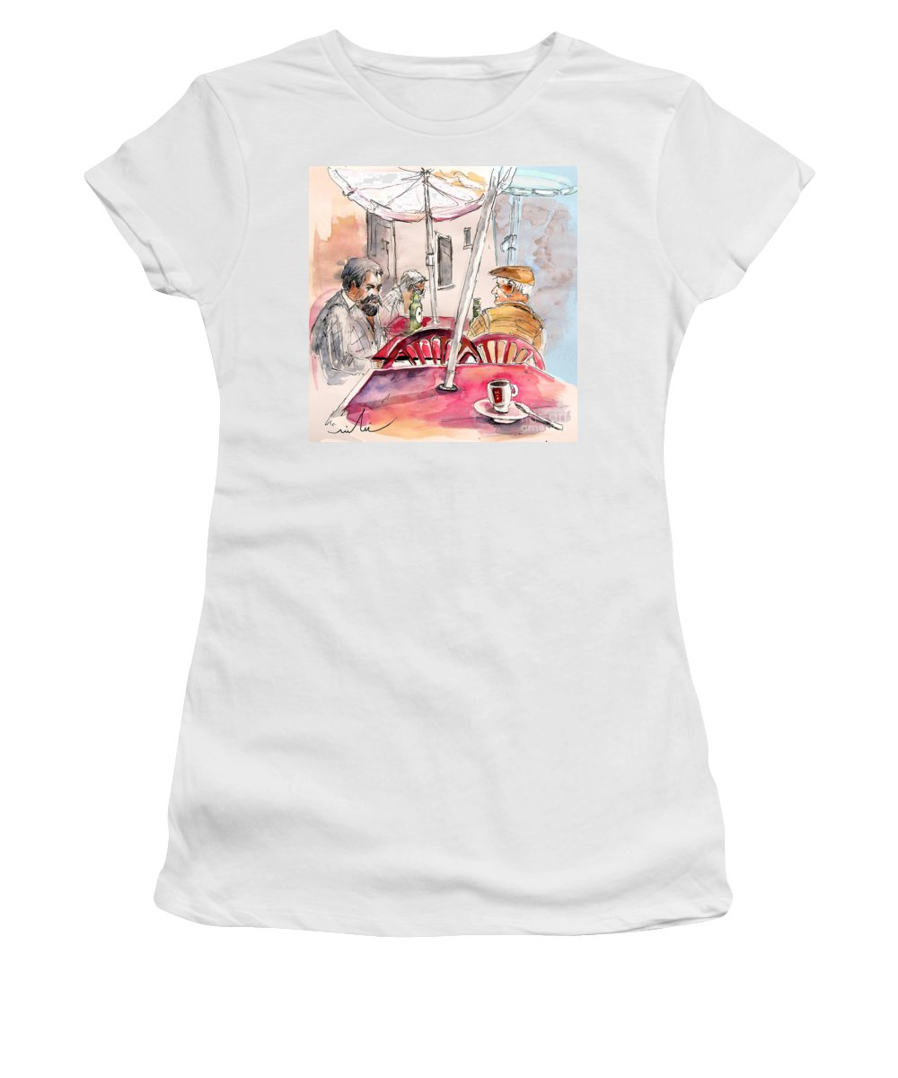 Water Colour Aquarelle Drawings Caricatures From People In Serpa Portugal By Miki Women's T-Shirt featuring the painting Serpa Portugal 32 by Miki De Goodaboom