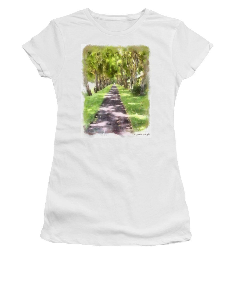 Kauai Women's T-Shirt (Athletic Fit) featuring the painting Shaded Walkway To Princeville Market by Paulette B Wright