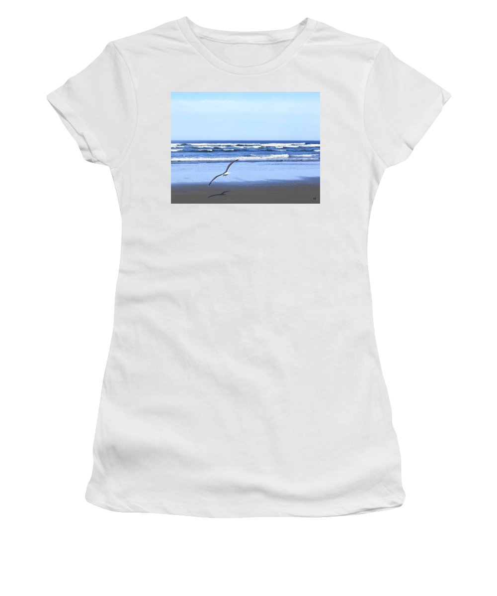 Seagull Women's T-Shirt featuring the photograph Shadow On The Sand by Will Borden