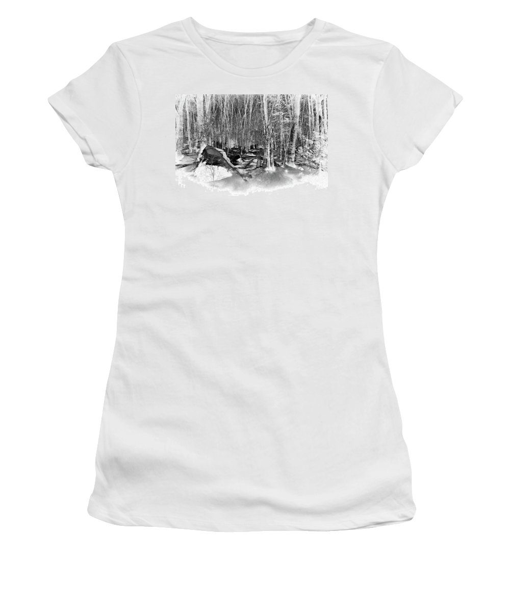 Lock & Dam Trail Women's T-Shirt (Athletic Fit) featuring the photograph Shadows Of Winter by David Patterson