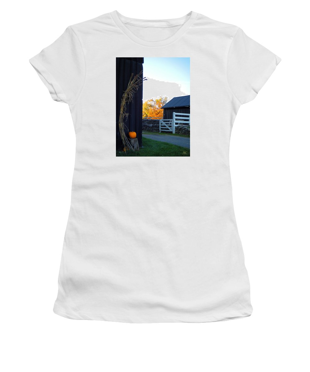 Shaker Women's T-Shirt (Athletic Fit) featuring the photograph Shaker Fall Decor 2 by Sam Davis Johnson