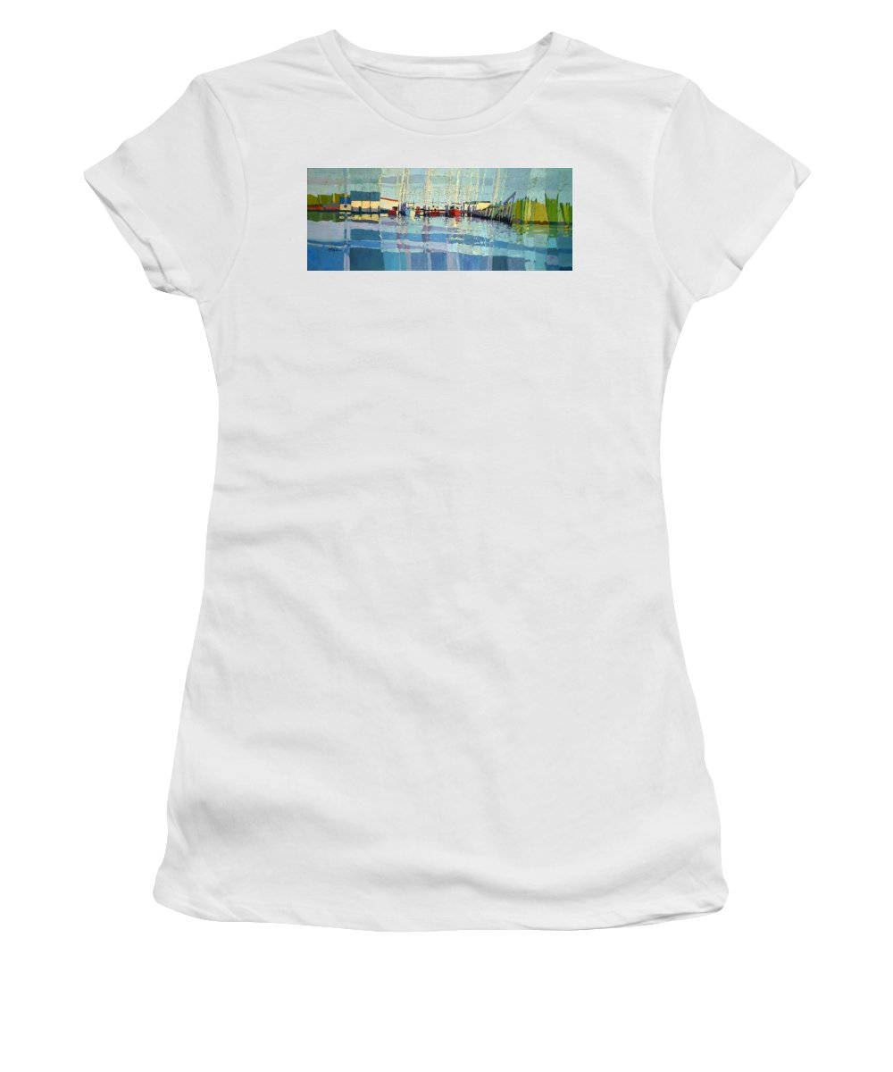 Belmar Inlet Women's T-Shirt (Athletic Fit) featuring the painting Shark River Inlet by Donald Maier