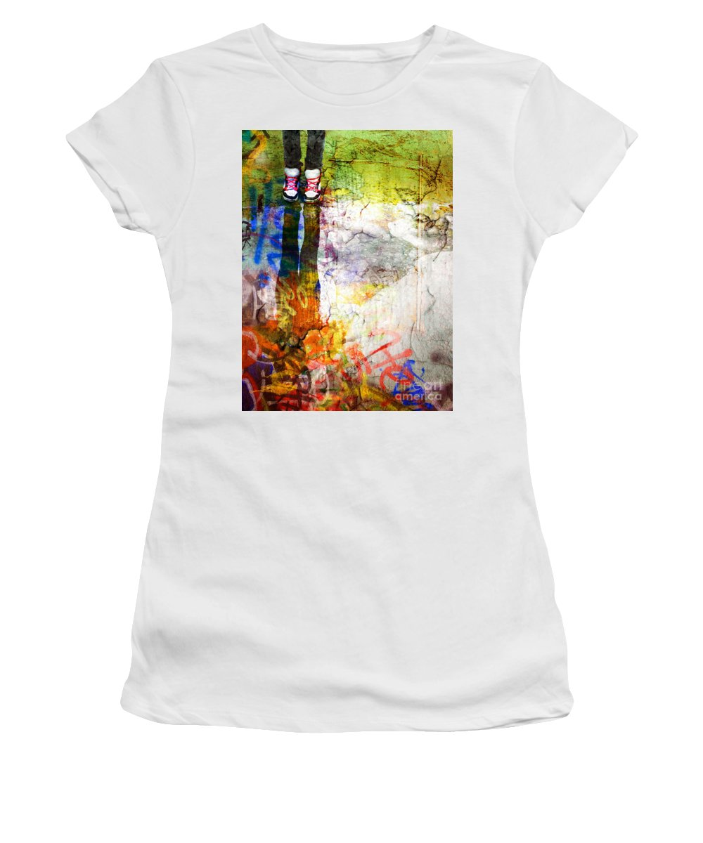 Shoes Women's T-Shirt (Athletic Fit) featuring the photograph She Lives In A Box Of Paint by Tara Turner