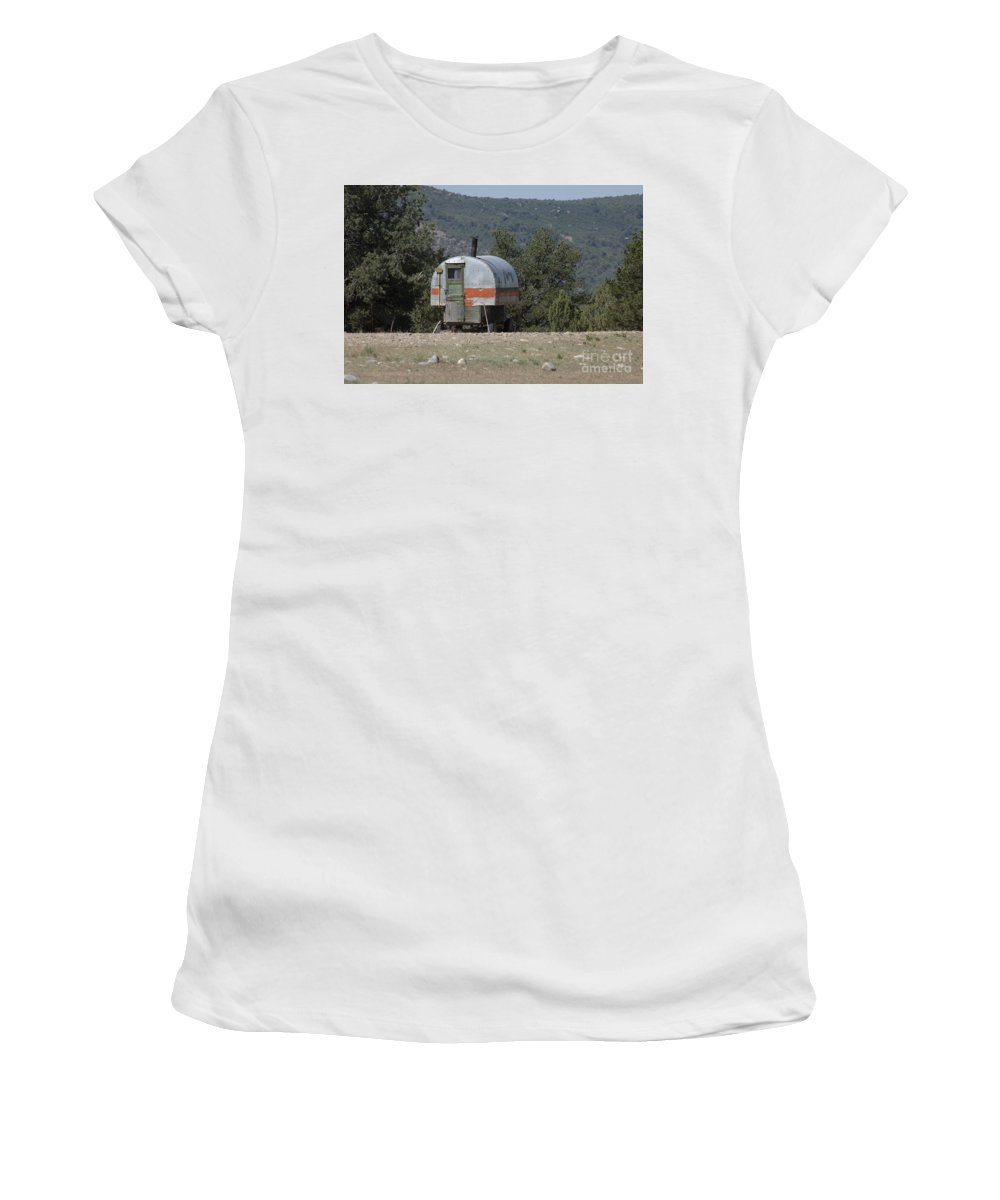 Sheep Women's T-Shirt (Athletic Fit) featuring the photograph Sheep Herder's Wagon by Jerry McElroy