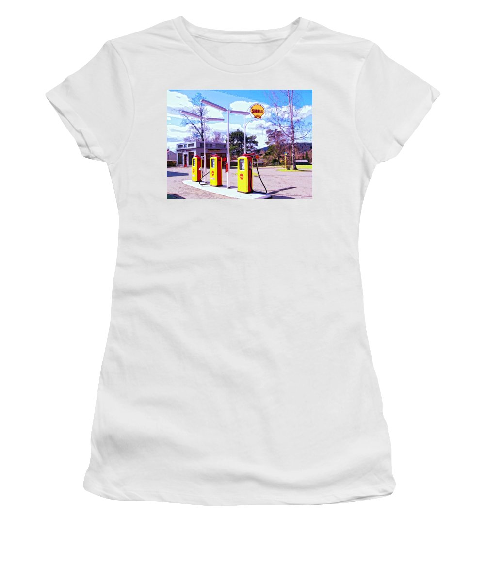Shell Station Women's T-Shirt (Athletic Fit) featuring the mixed media Shell Station by Dominic Piperata