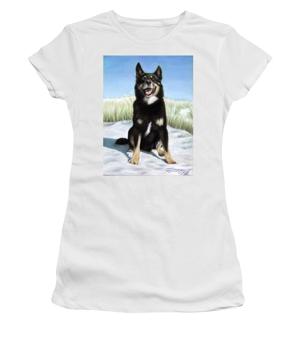 Dog Women's T-Shirt (Athletic Fit) featuring the pastel Shepherd Mix Timmy by Nicole Zeug